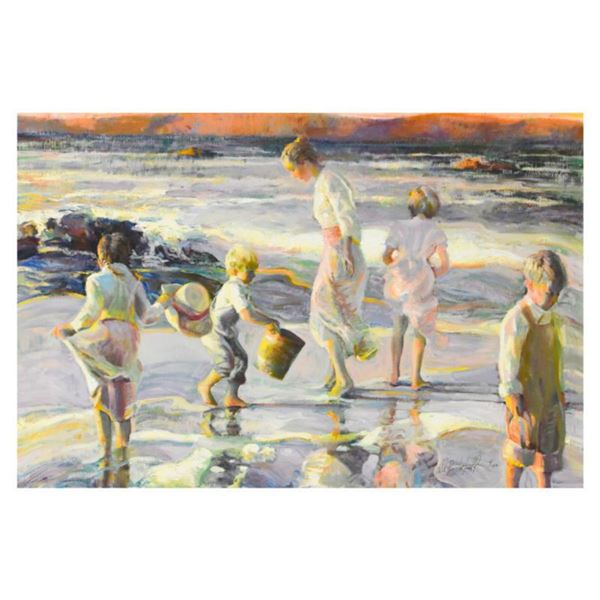 "Don Hatfield, ""Frolicking at the Seashore"" Limited Edition Serigraph on Canvas, Numbered and Hand Si"