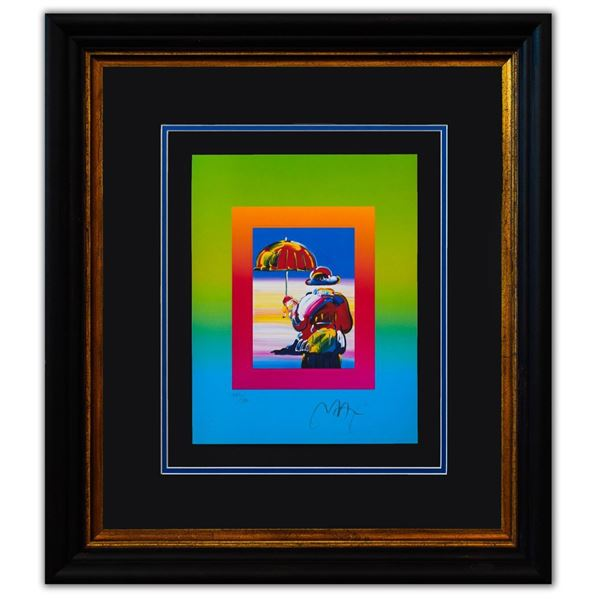 "Peter Max- Original Lithograph ""Umbrella Man on Blends"""