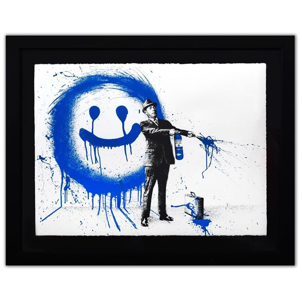 "Mr. Brainwash- Silkscreen Serigraph ""Spray Happiness (Blue)"""