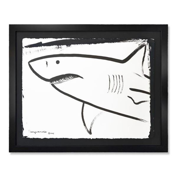 "Wyland, ""Shark"" Framed Original Watercolor Painting Hand Signed with Letter of Authenticity."