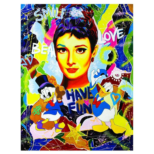 "Nastya Rovenskaya- Original Oil on Canvas ""Have Fun with Audrey Hepburn"""