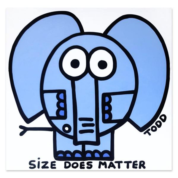 "Todd Goldman, ""Size Does Matter"" Hand Signed Original Painting on Canvas with Letter of Authenticity"