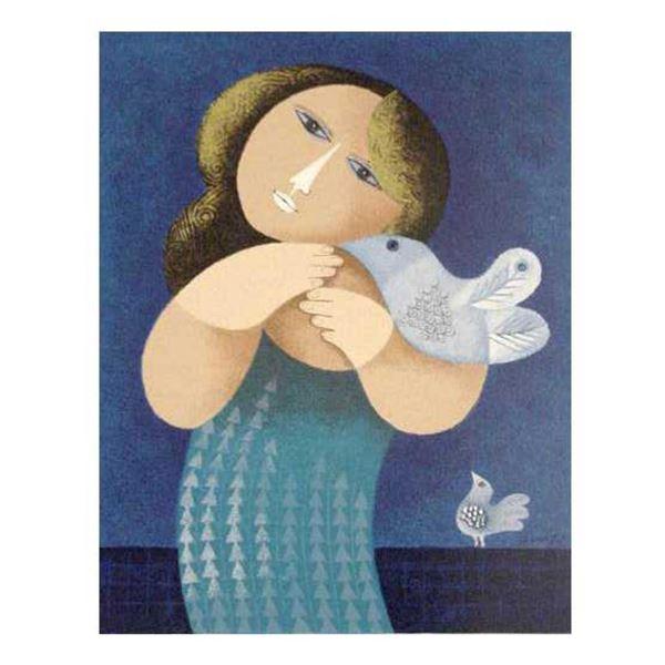 "Samy Briss- Original Serigraph ""l'Oiseau Jaloux"""