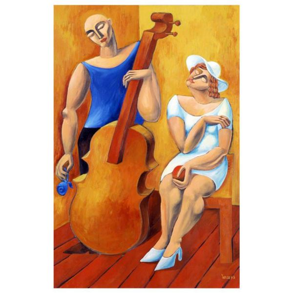 """Yuroz, """"The Cello"""" Hand Signed Limited Edition Serigraph with Certificate of Authenticity."""