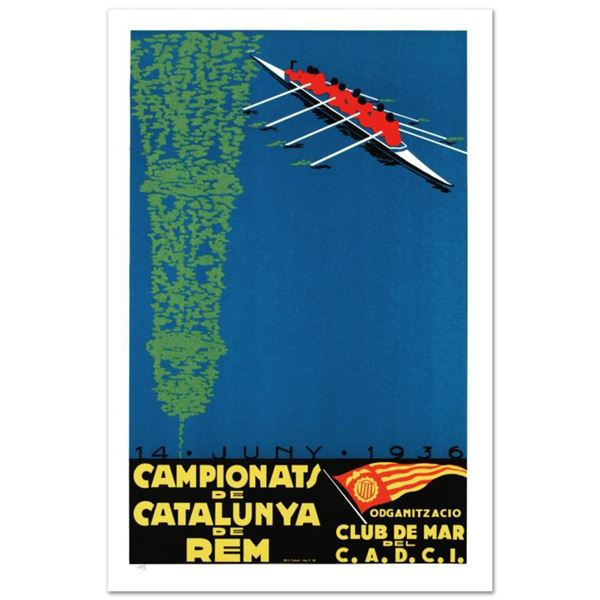 """RE Society, """"Campionats de Catalunya"""" Hand Pulled Lithograph, Image Originally by Camiro. Includes L"""