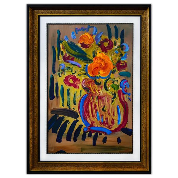 "Peter Max- Original Mixed Media ""Vase of Flowers"""