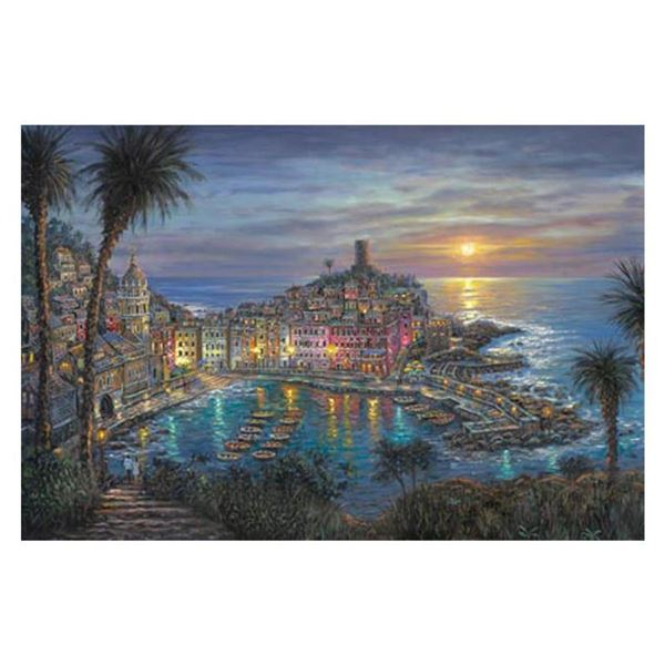 """Robert Finale, """"Vernazza Sunset"""" Hand Signed, Artist Embellished Limited Edition on Canvas with COA."""