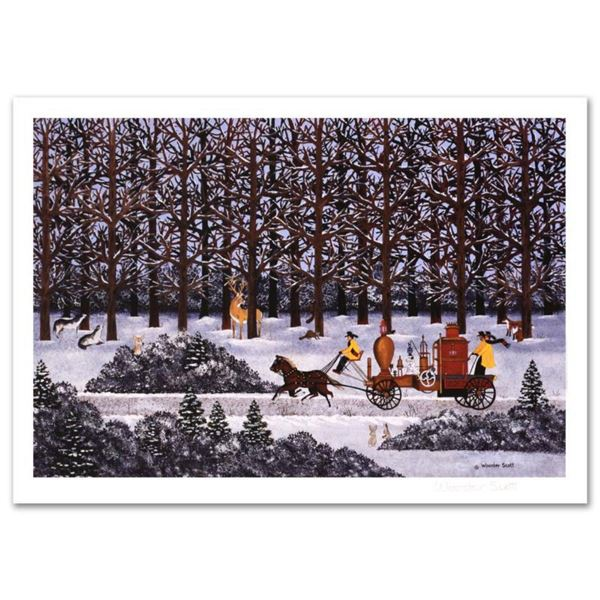 """Jane Wooster Scott, """"Dashing Through the Snow"""" Hand Signed Limited Edition Lithograph with Letter of"""