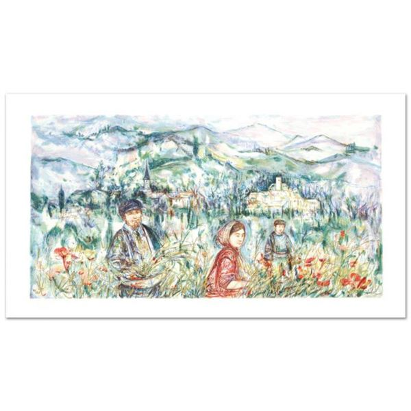 """""""The Flower Harvest"""" Limited Edition Lithograph by Edna Hibel (1917-2014), Numbered and Hand Signed"""