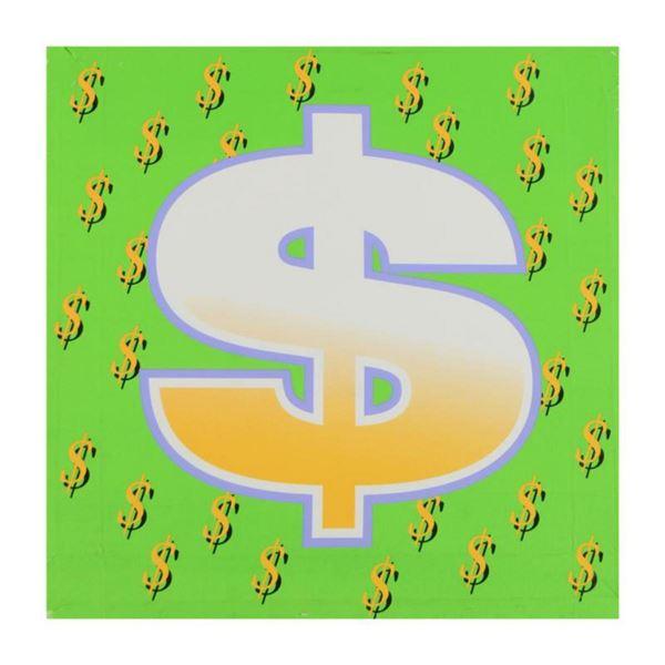 "Steve Kaufman (1960-2010) ""Dollar Sign (Green Bold)"" Limited Edition Hand Pulled Silkscreen on Canva"