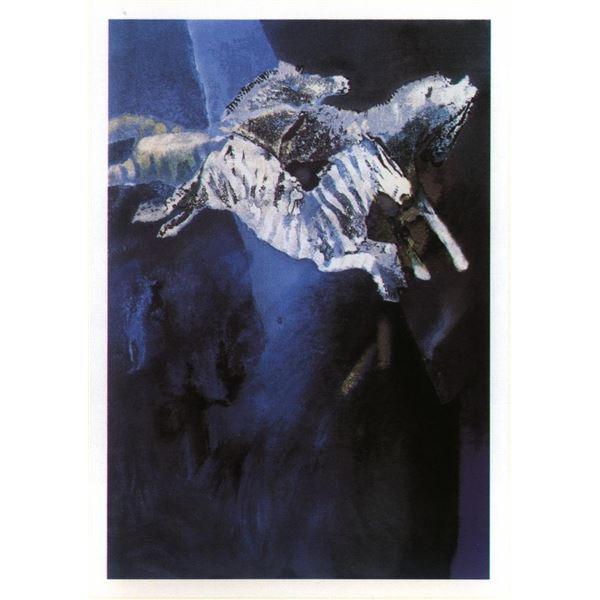 "Edwin Salomon- Original Serigraph ""Zebras in Blue"""
