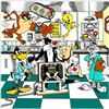 """Image 5 : Charles Fazzino- 3D Construction Silkscreen Serigraph """"A Jetson's House Call , Tom & Jerry's Surgica"""