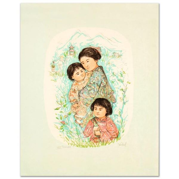 Leaving the Garden  Limited Edition Lithograph by Edna Hibel, Numbered and Hand Signed with Certifi