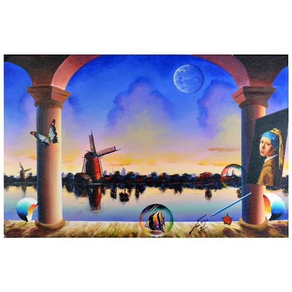 "Ferjo, ""Windmill Across the River"" Original Painting on Canvas, Hand Signed with Letter of Authentic"