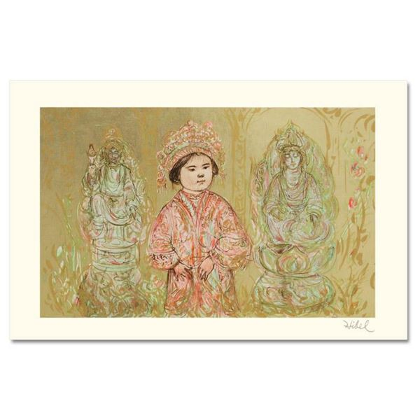 """""""Willie and Two Quan Yins"""" Limited Edition Lithograph by Edna Hibel, Numbered and Hand Signed with C"""