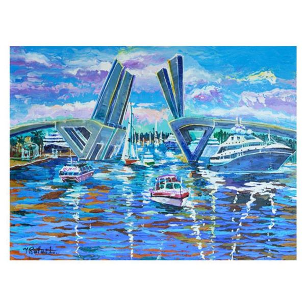 """Yana Rafael, """"Busy Waterway"""" Hand Signed Original Painting on Canvas with COA."""