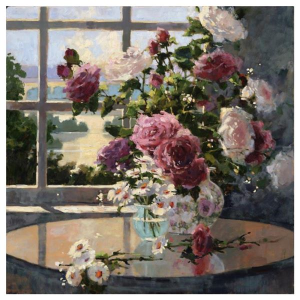"""Marilyn Simandle, """"Morning Roses"""" Hand Embellished Limited Edition on Canvas, Numbered and Hand Sign"""