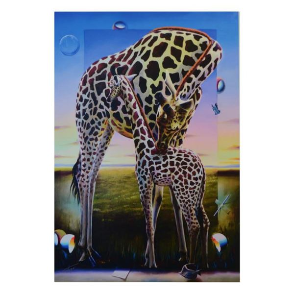 """Ferjo, """"A Mothers Kiss"""" Limited Edition on Canvas, Numbered and Signed with Letter of Authenticity."""