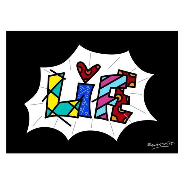 "Romero Britto ""Life Black Mini Word"" Hand Signed Giclee on Canvas; Authenticated"