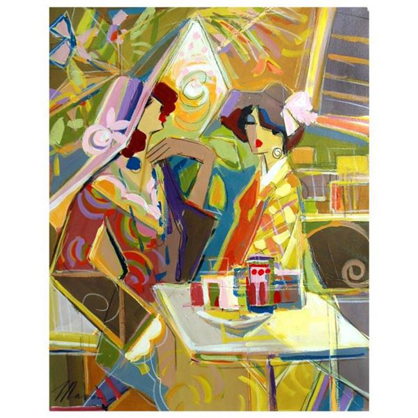 """Isaac Maimon, """"Along The Paths """" Hand Signed Original Acrylic Painting on Canvas with Certificate of"""