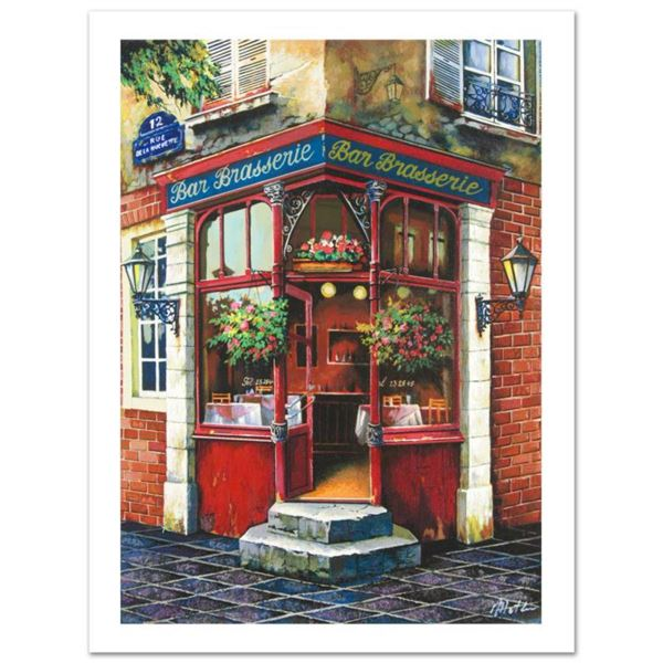 """Anatoly Metlan, """"Bar Brasserie"""" Limited Edition Serigraph, Numbered and Hand Signed with Letter of A"""