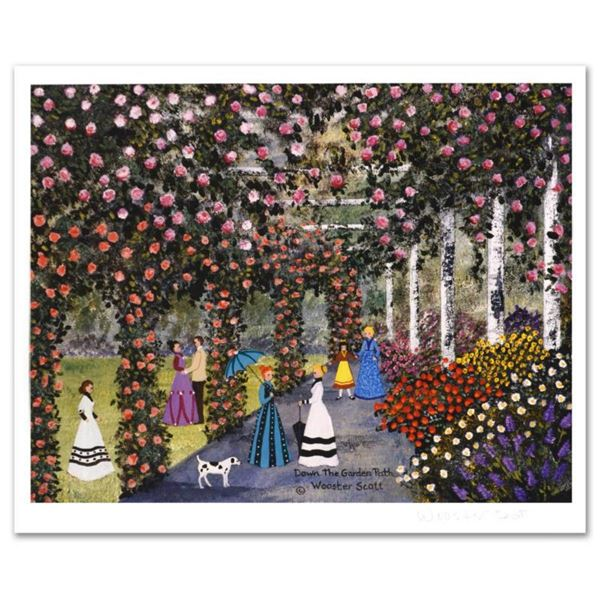 """Jane Wooster Scott, """"Down the Garden Path"""" Hand Signed Limited Edition Lithograph with Letter of Aut"""