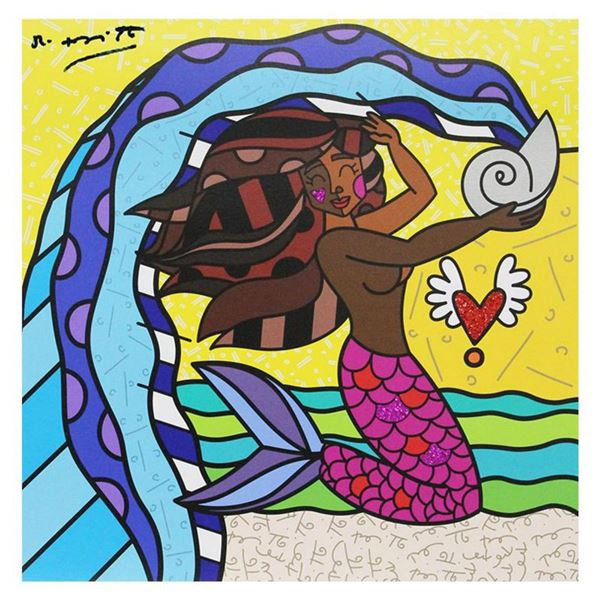 """Britto, """"Aquarius Black"""" Hand Signed Limited Edition Giclee on Canvas; Authenticated."""