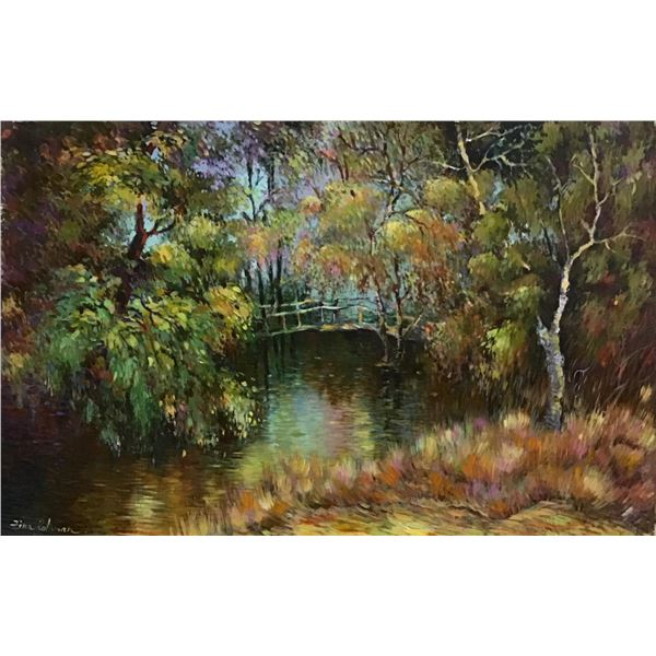 "Zina Roitman- Original oil on paper ""Hommage to Monet"""