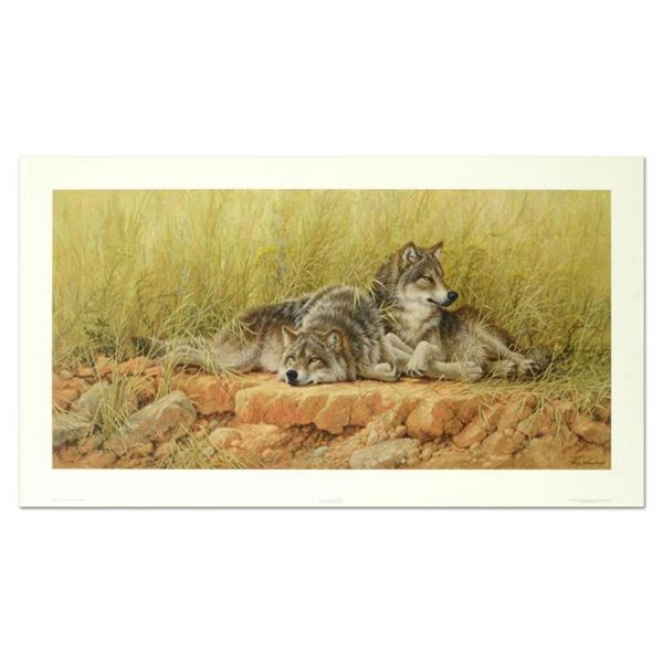 """Larry Fanning (1938-2014), """"End Of Summer - Gray Wolves"""" Limited Edition Lithograph, Numbered and Ha"""