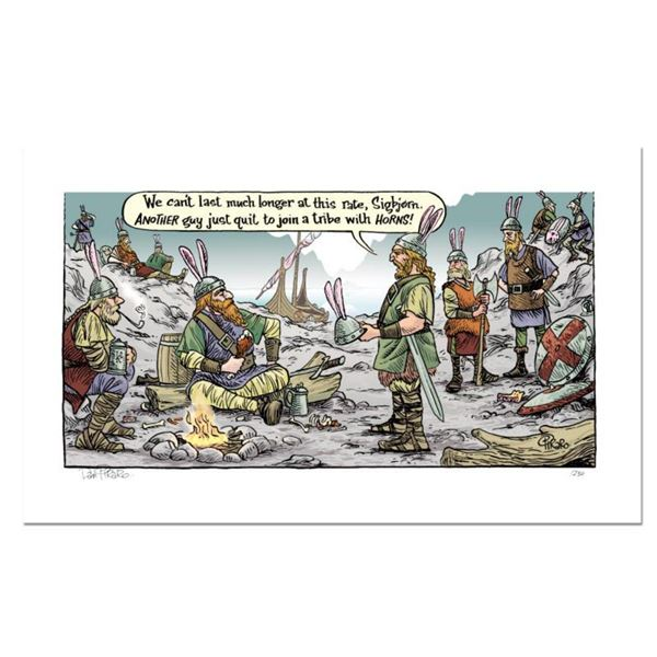 """Bizarro! """"Viking Horns"""" Numbered Limited Edition Hand Signed by creator Dan Piraro; Letter of Authen"""