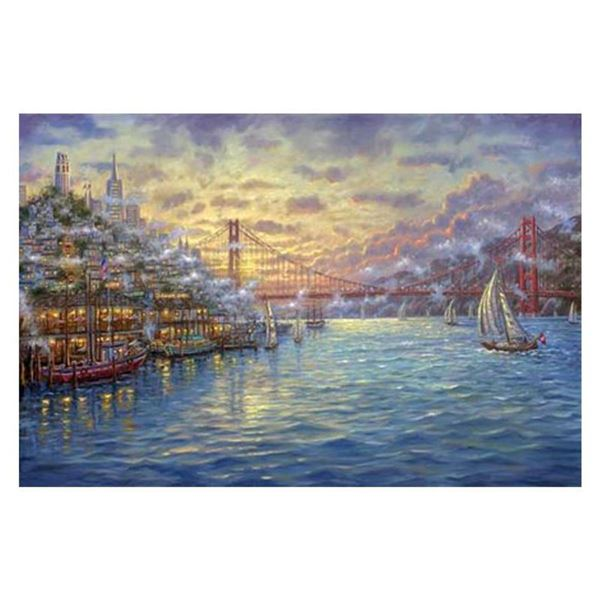 """Robert Finale, """"Sunset On The Bay"""" Hand Signed, Artist Embellished Limited Edition on Canvas with CO"""