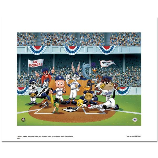 """Line Up At The Plate (Dodgers)"" is a Limited Edition Giclee from Warner Brothers with Hologram Seal"