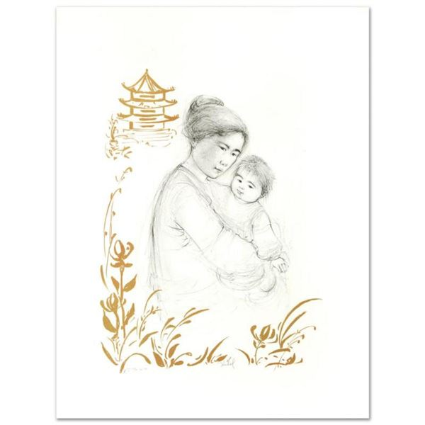 """Lei Jeigiong and her Baby in the Garden of Yun-Tai"" Limited Edition Lithograph by Edna Hibel (1917-"
