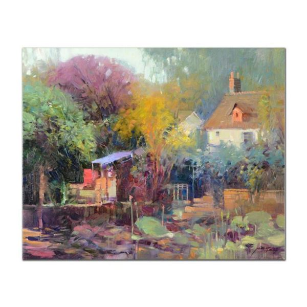 "Ming Feng, ""Lily Pond Garden"" Original Oil Painting on Canvas, Hand Signed with Letter of Authentici"