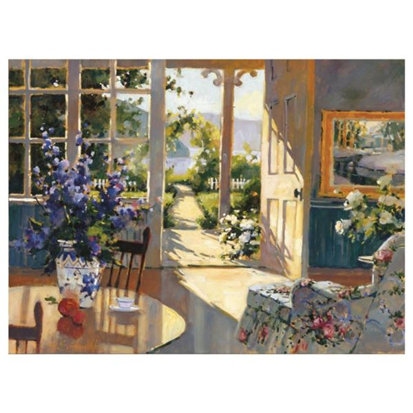 """Marilyn Simandle, """"Sunlit Cottage"""" Limited Edition on Canvas, Numbered and Hand Signed with Letter o"""