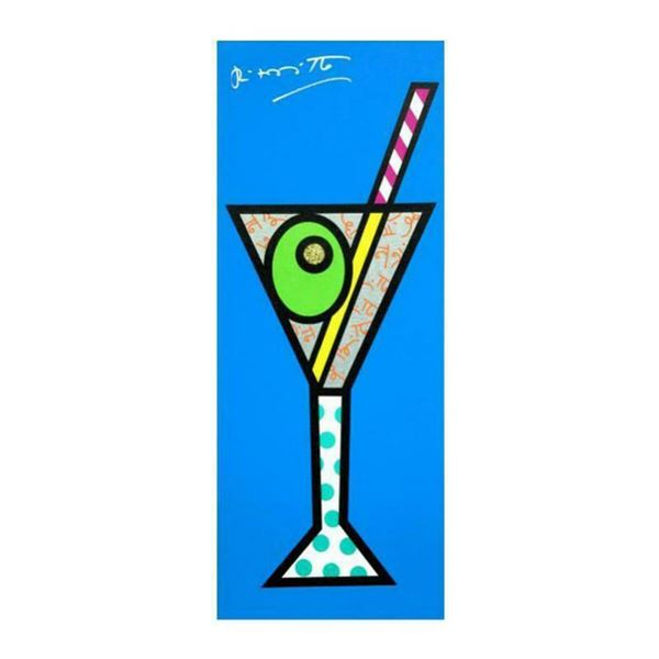 """Romero Britto """"Blue Martini"""" Hand Signed Limited Edition Giclee on Canvas; Authenticated"""