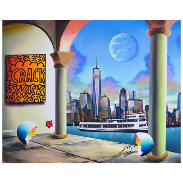 """Ferjo, """"Ny Freedom"""" Original Painting on Canvas, Hand Signed with Letter of Authenticity."""