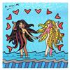 """Britto, """"Gemini Girls (Black & White)"""" Hand Signed Limited Edition Giclee on Canvas; Authenticated."""