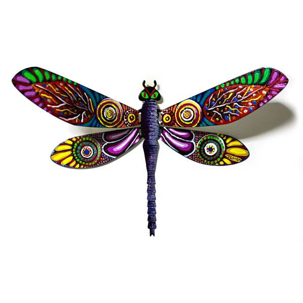 "Patricia Govezensky- Original Painting on Cutout Steel ""Dragonfly CI"""