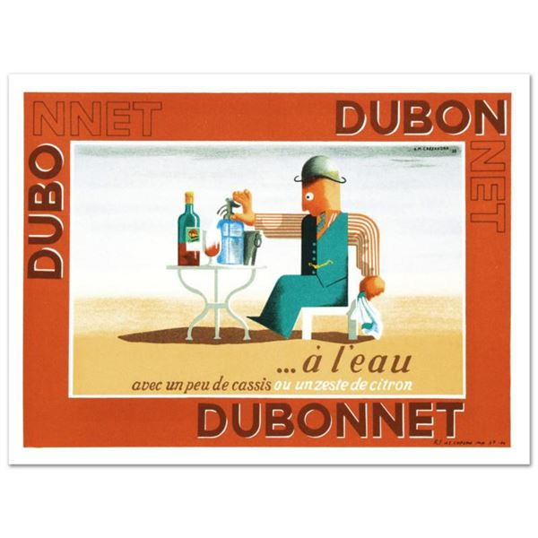 """RE Society, """"Dubonnet.A Leau"""" Hand Pulled Lithograph, Image Originally by A.M. Cassandra. Includes L"""