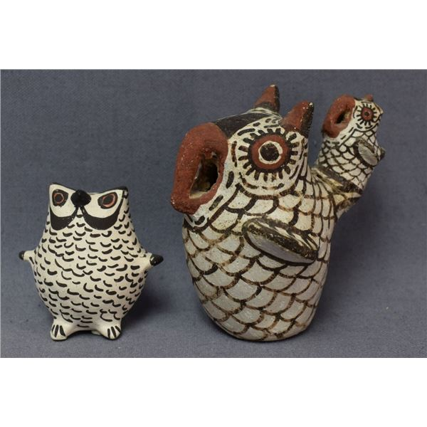 ZUNI AND ACOMA INDIAN POTTERY OWLS