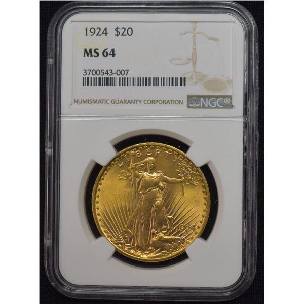1924 US GOLD $20 SAINT-GAUDENS DOUBLE EAGLE