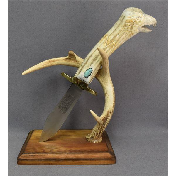 CHEYENNE INDIAN ANTLER HANDLE KNIFE (ROBERT BUSHY)