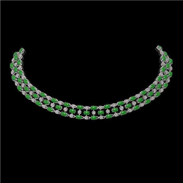 63.65 ctw Jade & Diamond Necklace 10K White Gold - REF-527K3Y
