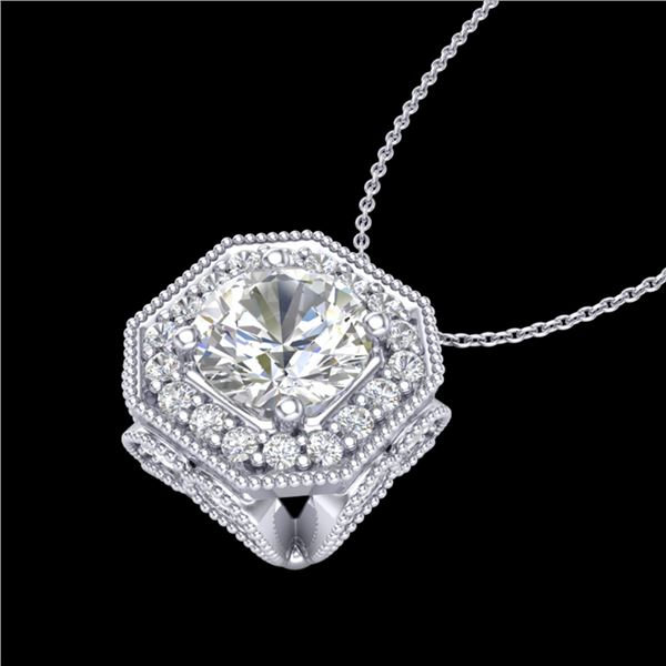 1.54 ctw VS/SI Diamond Solitaire Art Deco Necklace 18k White Gold - REF-409R3K