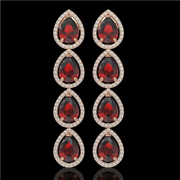 9.25 ctw Garnet & Diamond Micro Pave Halo Earrings 10k Rose Gold - REF-172W8H