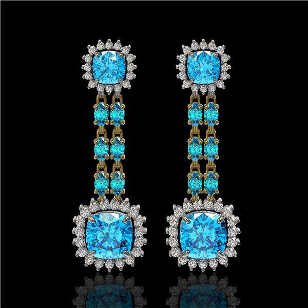 19.64 ctw Swiss Topaz & Diamond Earrings 14K Yellow Gold - REF-232W9H