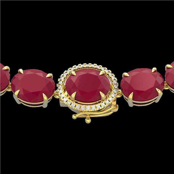 170 ctw Ruby & Diamond Micro Eternity Necklace 14k Yellow Gold - REF-993H8R