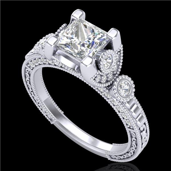 1.75 ctw Princess VS/SI Diamond Art Deco Ring 18k White Gold - REF-445G5W