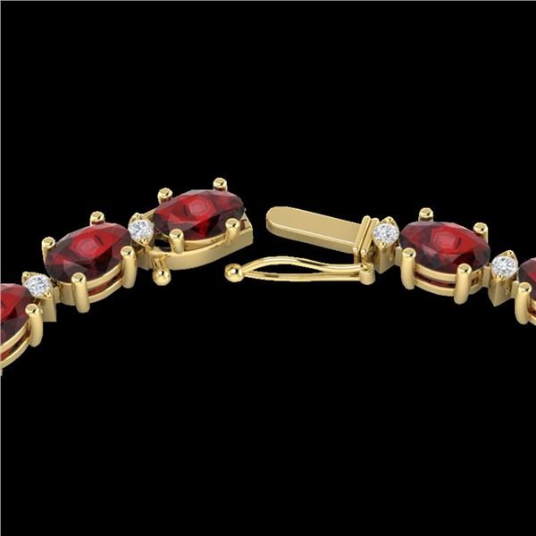 46.5 ctw Garnet & VS/SI Certified Diamond Eternity Necklace 10k Yellow Gold - REF-245G5W